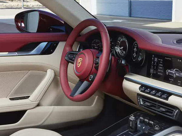 Two-tone leather interior.