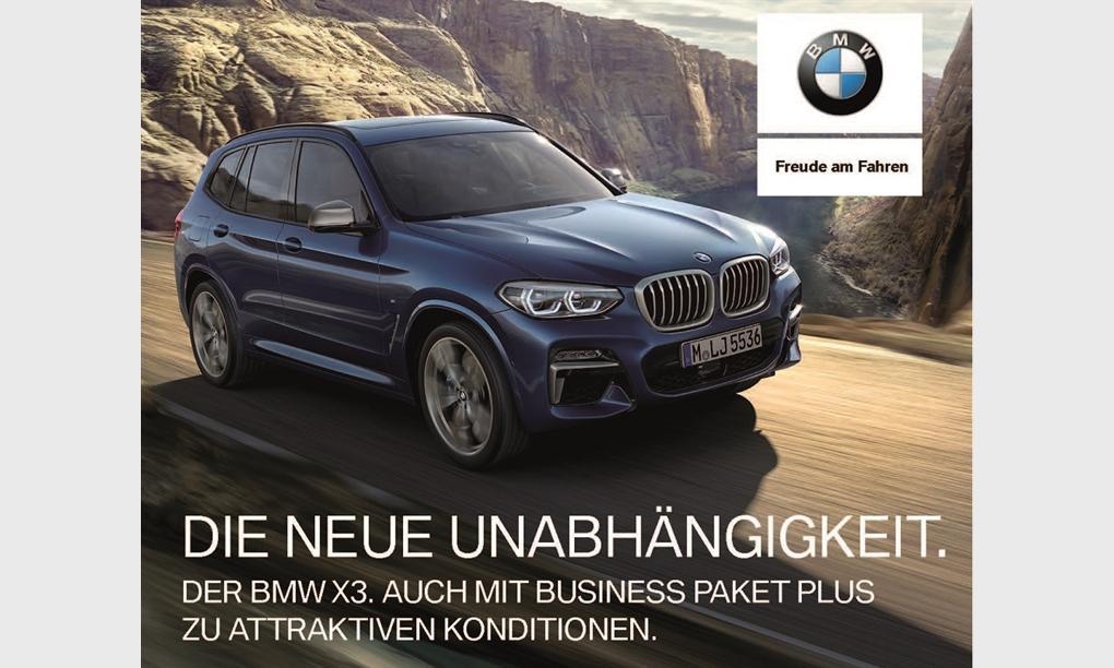 DIE NEUE UNABHÄNGIGKEIT. Der BMW X3. Auch mit Business Paket Plus zu attraktiven Konditionen.