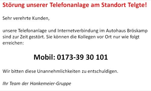 Störung unserer Telefonanlage am Standort Telgte!