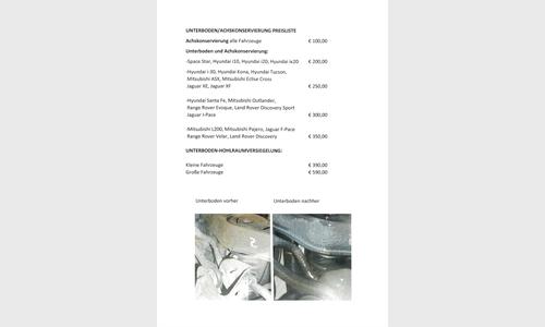 Foto des Serviceangebots Preisliste Unterboden/Achskonservierung/Hohlraumschutz