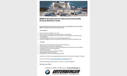 Foto des Stellenangebots BMW Verkaufsberater für Gebrauchte Automobile (w/m/d)