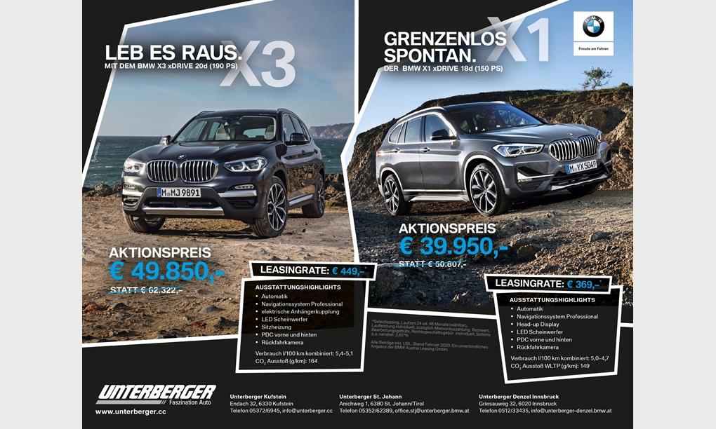 Sondermodell BMW X1 und BMW X3