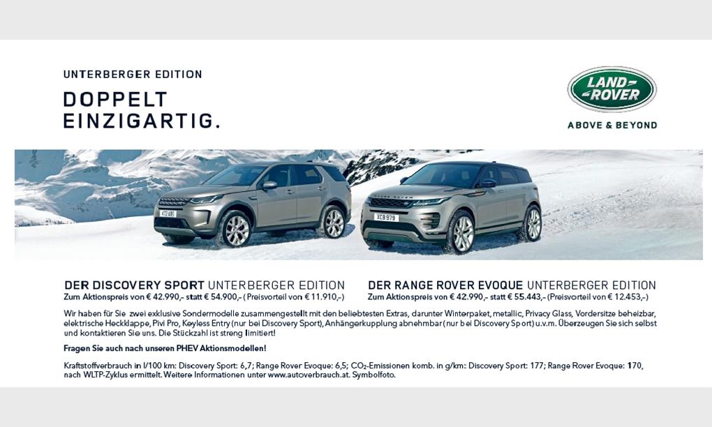 LR Discovery Sport und RR Evoque Unterberger Edition