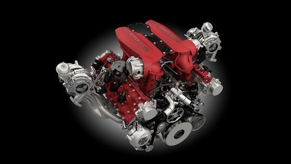 Das Herz des Ferrari 488 Spider.