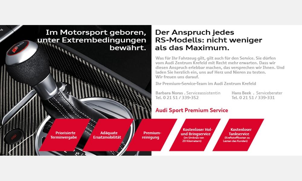 Exklusiver Service für Audi RS Kunden im Audi Zentrum Krefeld